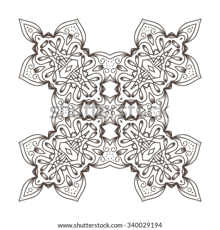 Ethnic Fractal Mandala Vector Meditation looks like Snowflake or Maya Aztec Pattern or Flower Isolated on White