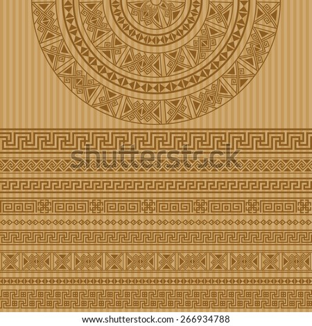 Ethnic geometric design set. sign, border decoration elements in brown color isolated on striped beige background. vector illustration. Could be used as divider, frame, etc  - stock vector