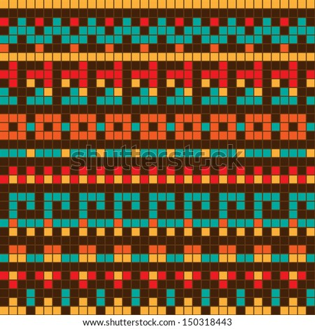 Ethnic geometric ornament; vector seamless background.