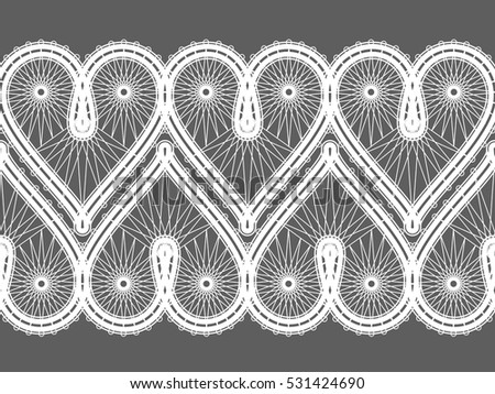 Ethnic Geometric Pattern Design of Traditional Vologda Lace for Background or Wallpaper. Fashion Print. Imitation of a Lace. Folk Style Graphic. Arts and Crafts.