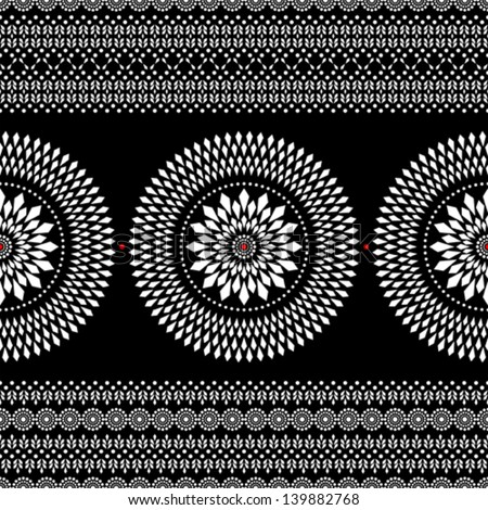 Ethnic geometric pattern in black and white - stock vector