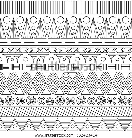 Ethnic geometric seamless pattern Tribal black and white vector background. - stock vector