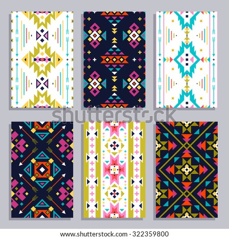 Ethnic geometric vertical banner set with seamless tribal patterns isolated vector illustration - stock vector