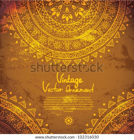 Ethnic gold ornament - stock vector
