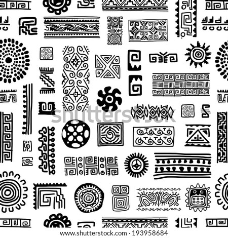 Ethnic handmade ornament, seamless pattern for your design - stock vector