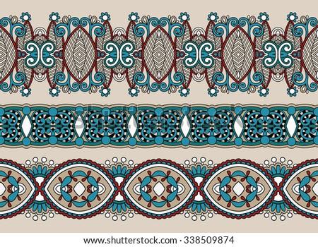 ethnic horizontal  authentic decorative paisley pattern  for your design, geometric ukrainian carpet ornamental background, vector illustration - stock vector