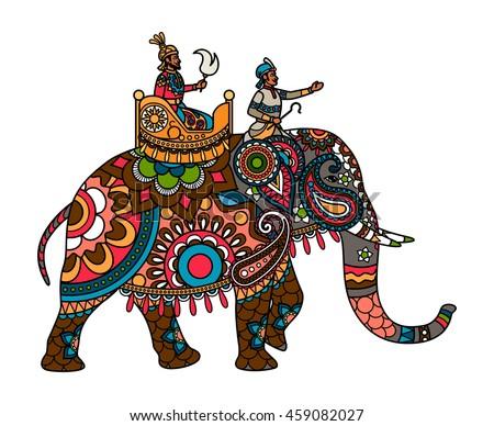 Traditional Indian Elephant Motifs Maharaja Stock ...