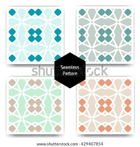 Ethnic islamic arabic pattern set. Islamic arabic background. Islamic geometry. Seamless vector in arabic style - stock vector