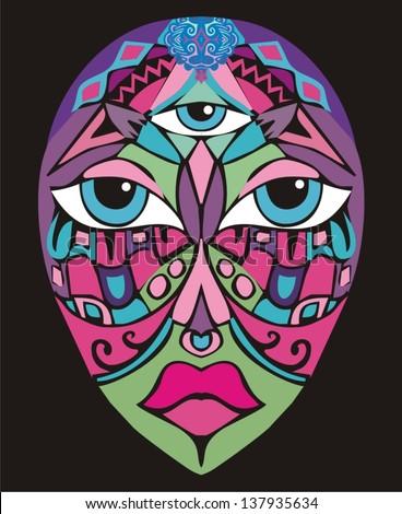 Ethnic mask on vintage background (carnival)  - stock vector