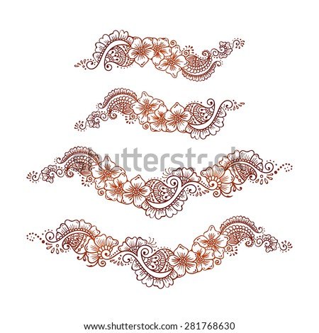 Ethnic mehndi floral ornament set mehndi stock vector 281768630 ethnic mehndi floral ornament set mehndi henna tattoo brown vintage element on a white background stopboris Images