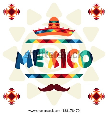 Ethnic mexican background design in native style. - stock vector
