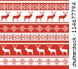 Ethnic nordic christmas seamless pattern background with deer. Vector illustration in red and white colors. - stock vector