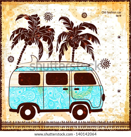 Ethnic old fashion bus illustration can be used as a greeting card