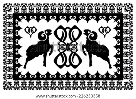 ethnic ornament with stylized aries and elements of astrological symbols. Illustration, vector - stock vector