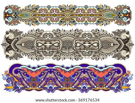 ethnic ornamental paisley floral pattern for made bracelet, stripe pattern for print or embroidery ribbon vector illustration - stock vector