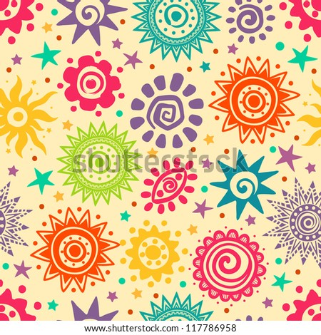 Ethnic ornamental sun pattern - stock vector