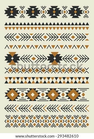 ethnic pattern elements collection. vector illustration - stock vector