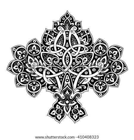 Ethnic pattern in black and white colors. Oriental decorative element. Boho style vector illustration.