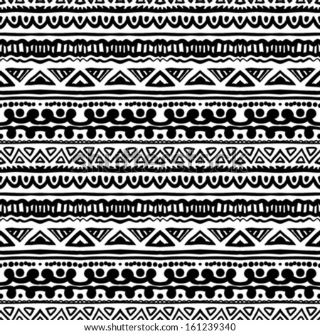 Ethnic Pattern In Black And White With Ornamental Stripes Texture For Web Print