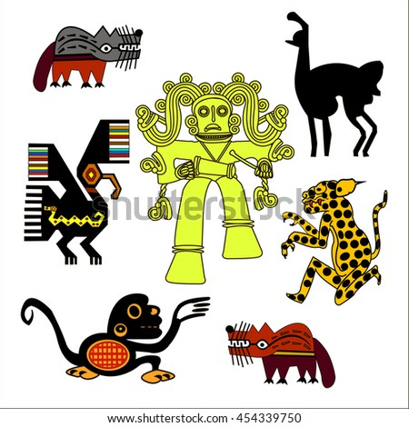 Ethnic pattern of American Indians: Aztecs, Mayans, Incas. Jaguar, monkey, wolf, lama, eagle. Set of decorative elements in the Mexican style. Vector illustration.