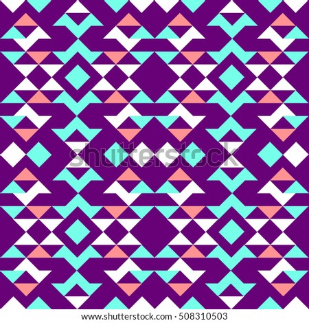 Ethnic pattern of triangles, blue, red, white, on a purple background