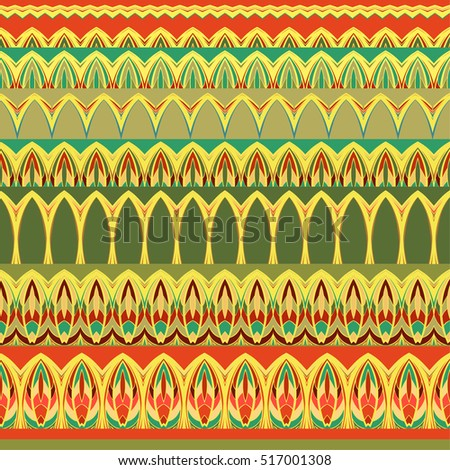 Ethnic pattern. Tribal set of borders. Vector abstract background.
