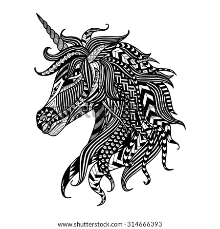 Ethnic patterned head of unicorn on white background/ african / indian / totem / tattoo design. Use for print, posters, t-shirts,logo,coloring page