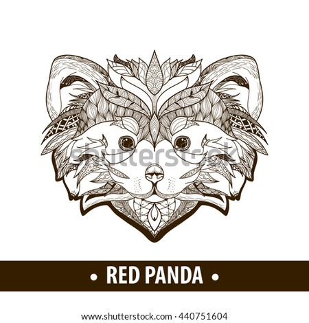 Ethnic patterned ornate hand drawn head of Red Panda . Black and white doodle vector illustration. Sketch for tattoo, poster, print or t-shirt. Coloring book for adult and older children.