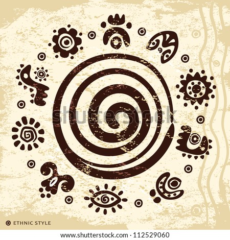 Ethnic petroglyphs - stock vector