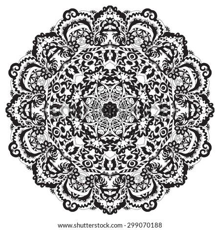 Ethnic round ornament. Hand drawn mandala. Henna mehndi design element. Orient traditional background. Lace circular ornament. Indian, Islamic, Asian, ottoman, Arabic  motif. Vector illustration. - stock vector