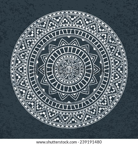 Ethnic round ornament. Pattern of ancient America. - stock vector