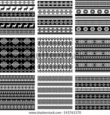ethnic seamless background set collection. vector textures in black and white colors - stock vector