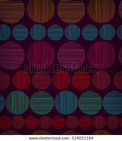 Ethnic seamless bright texture with geometric shapes. Retro endless pattern with colorful rounds. Template for design wallpapers, textile, clothes, web pages background - stock vector