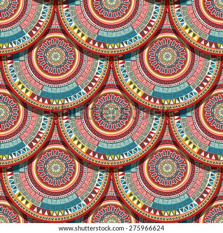 Ethnic seamless pattern. Abstract ornamental mandala tile - stock vector