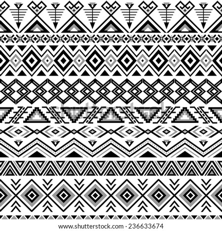 Ethnic seamless pattern. Aztec black-white background. Tribal, ethnic, navajo print. Modern abstract wallpaper. Vector illustration. - stock vector