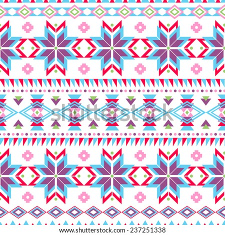 Ethnic seamless pattern. Aztec colorful striped background. Tribal, ethnic, navajo print. Modern abstract wallpaper. Soft colors. Vector illustration. - stock vector