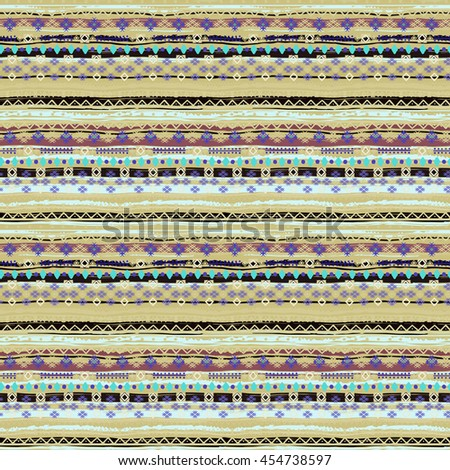 Ethnic seamless pattern. Boho print. Old background texture. Brush strokes, floral, geometric ornament.  Carpet