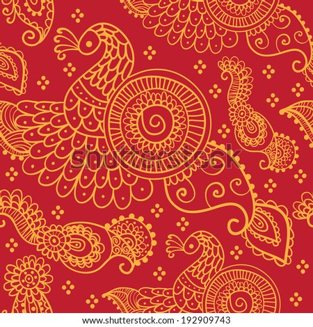 Ethnic seamless pattern. Floral pattern background with indian ornament.