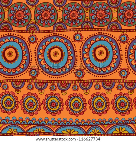 ethnic seamless pattern. Indian ornament, kaleidoscopic flora pattern, mandala. range, circle, round, disk. African abstract seamless pattern - stock vector