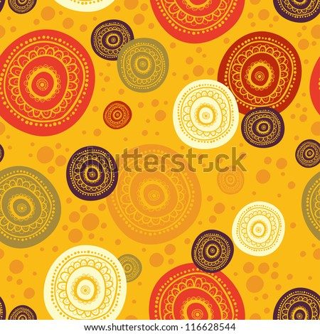 ethnic seamless pattern. Indian ornament, kaleidoscopic flora pattern, mandala. range, circle, round, disk. nice African abstract seamless pattern. seamless pattern with circles - stock vector