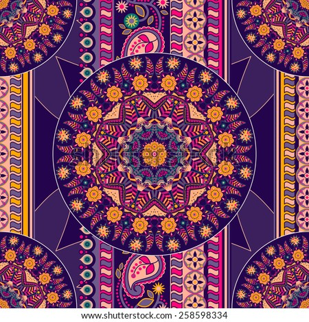 Ethnic seamless pattern. Ornamental background - stock vector