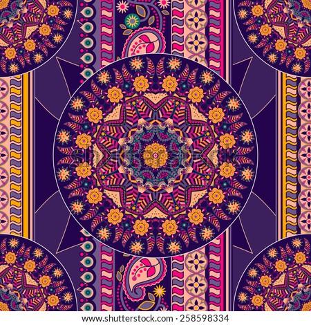 Ethnic seamless pattern. Ornamental background - stock vector