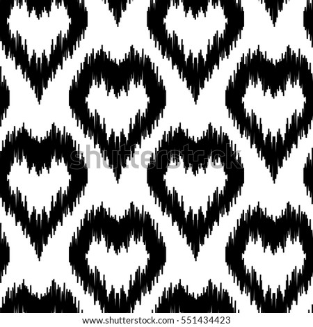 Ethnic seamless pattern with black hearts on white background boho abstract textile print romantic