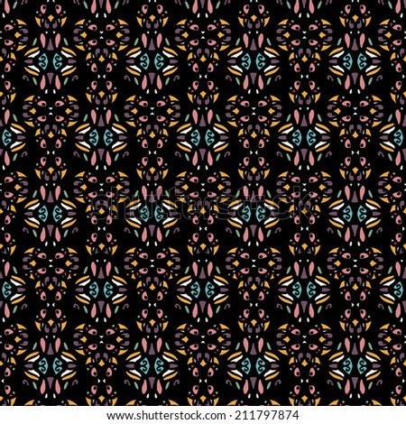 Ethnic seamless pattern with flowers. Abstract floral background texture. Endless repeating print. Fabric design. Wallpaper - vector