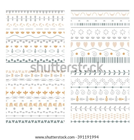 Ethnic set of Pattern Brushes - stock vector