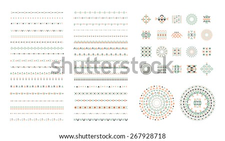 Ethnic set of Pattern Brushes plus decor elements. Isolated - stock vector