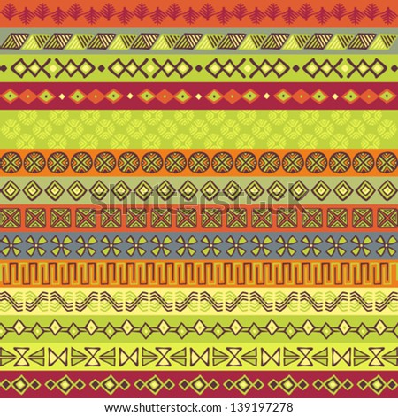 Ethnic strips in various motifs and colors - stock vector