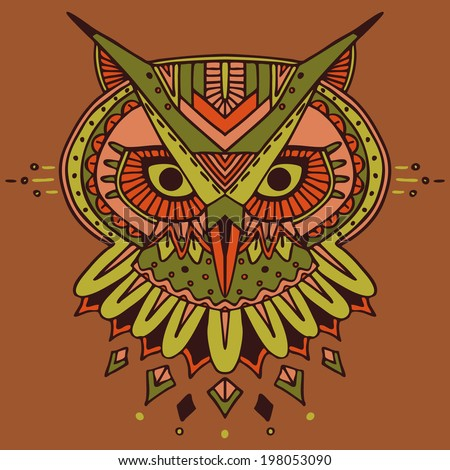 Ethnic style owl vector drawing. Colored - stock vector
