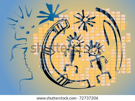 Ethnic symbols drawn on a wall in style of graffiti. Vector illustration