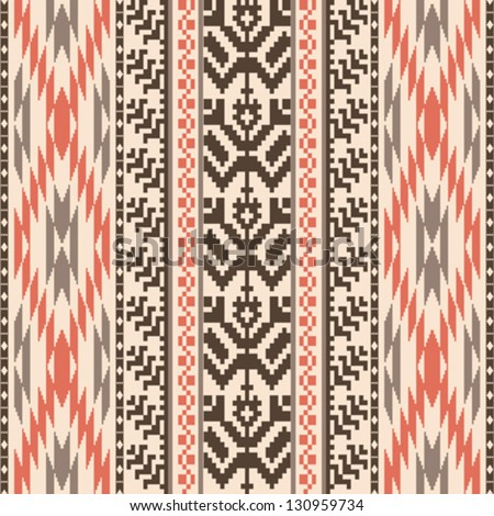 Ethnic textile decorative ornamental striped seamless pattern - stock vector